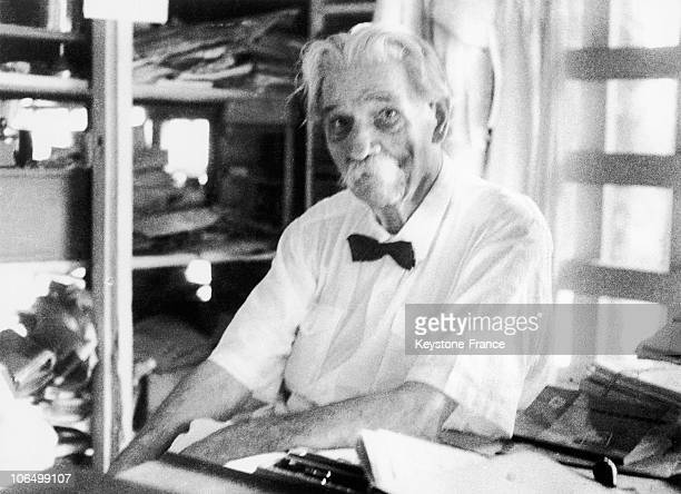 Portrait Of Albert Schweitzer Between 1940 And 1965 Pictured In His Office At The Hospital He Founded In The Village Of Lambarene Gabon