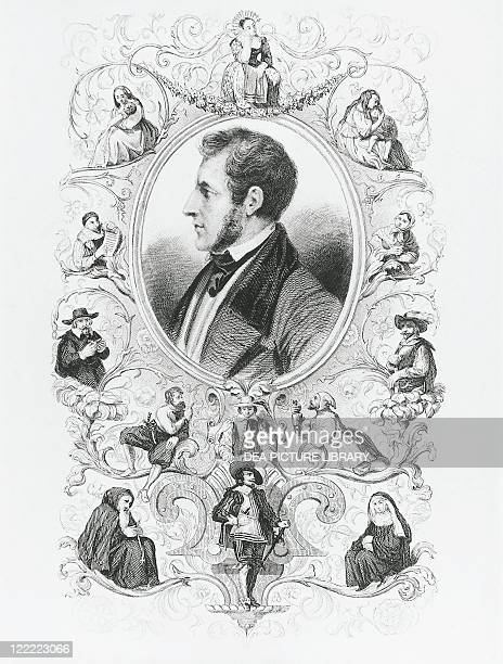 Portrait of Alessandro Manzoni Italian writer and poet framed by depictions of characters of The Betrothed Engraving