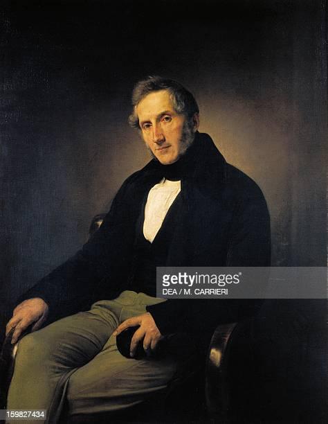 Portrait of Alessandro Manzoni Italian writer poet and playwright Oil on canvas by Francesco Hayez 117x91 cm Milano Civiche Raccolte D'Arte Museo...