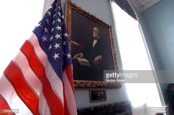 A portrait of Alexander Hamilton Rice hangs in the Governor's Council Chamber replacing a portrait of another elder statesman