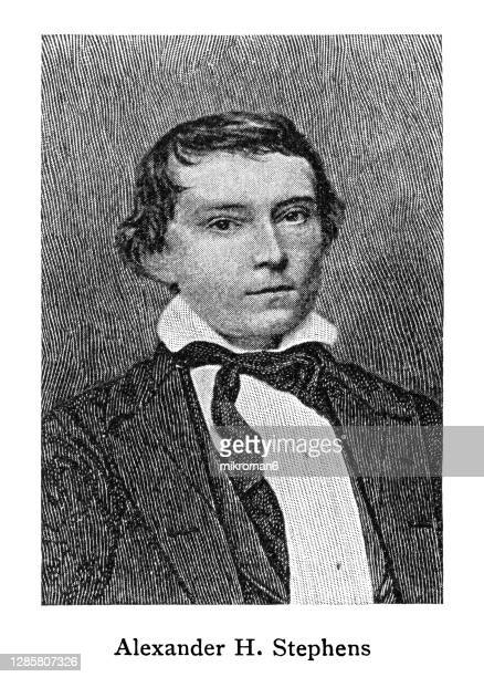 portrait of alexander hamilton stephens, american politician, served as the vice president of the confederate states - former stock pictures, royalty-free photos & images