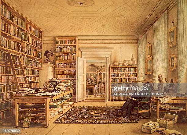 Portrait of Alexander von Humboldt German naturalist explorer and botanist posing in his library Engraving from a painting by Eduard Hildebrandt ca...