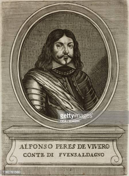 Portrait of Alfonso Perez de Vivero, Count of Fuensaldana , Spanish soldier and politician, engraving from Elogii di capitani illustri , by Lorenzo...