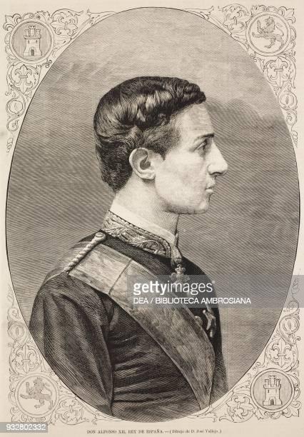 Portrait of Alfonso XII , King of Spain, illustration from La Ilustracion Espanola y Americana magazine, Year 19, Number 15, April 22, 1875.