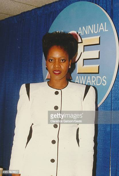 Portrait of Alfre Woodard posing on stage during the 1988 ACE awards for cable television, Los Angeles, California, January 20, 1988.