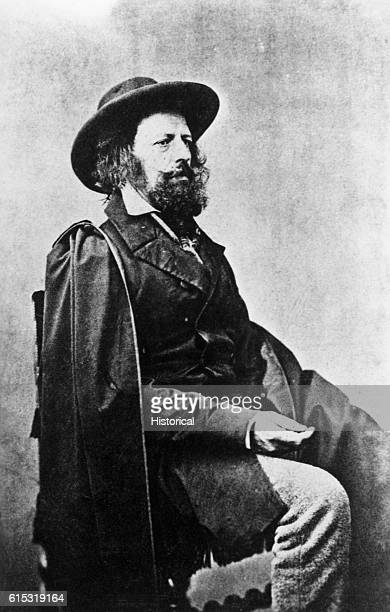 Portrait of Alfred Tennyson, First Lord Tennyson, a noted English romantic poet.