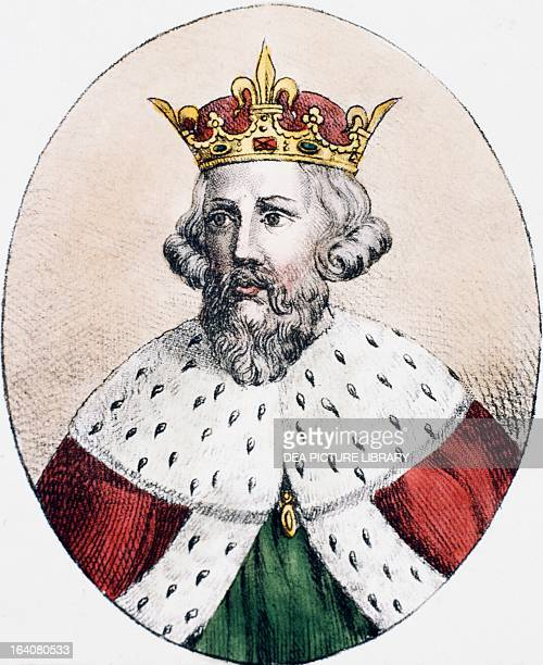 Portrait of Alfred the Great English sovereign king of the southern AngloSaxon kingdom of Wessex venerated as a saint by the Catholic Church Engraving