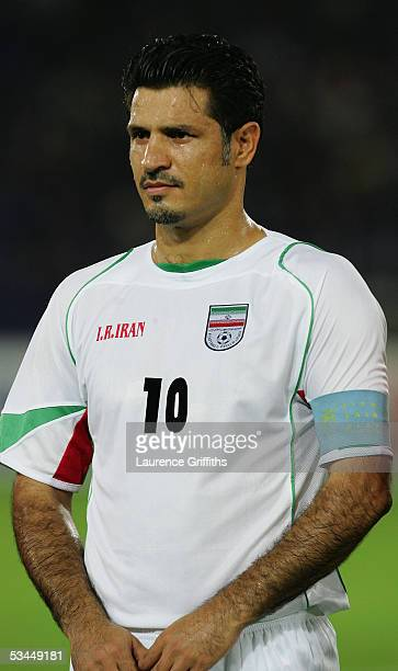 A portrait of Ali Daei of Iran prior to the 2006 Fifa World Cup Asian Qualifiers match between Japan and Iran at the International Stadium on August...