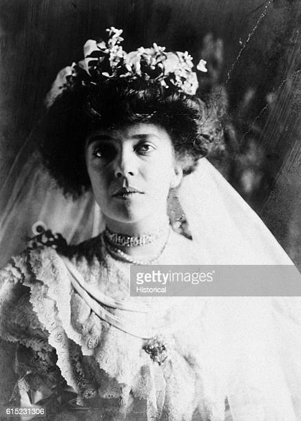 Portrait of Alice Roosevelt Longworth in her wedding dress She was the daughter of President Theodore Roosevelt and the husband of Nicholas Longworth...