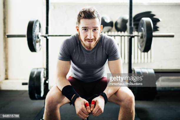 portrait of amateur weightlifter - 余暇施設 ストックフォトと画像