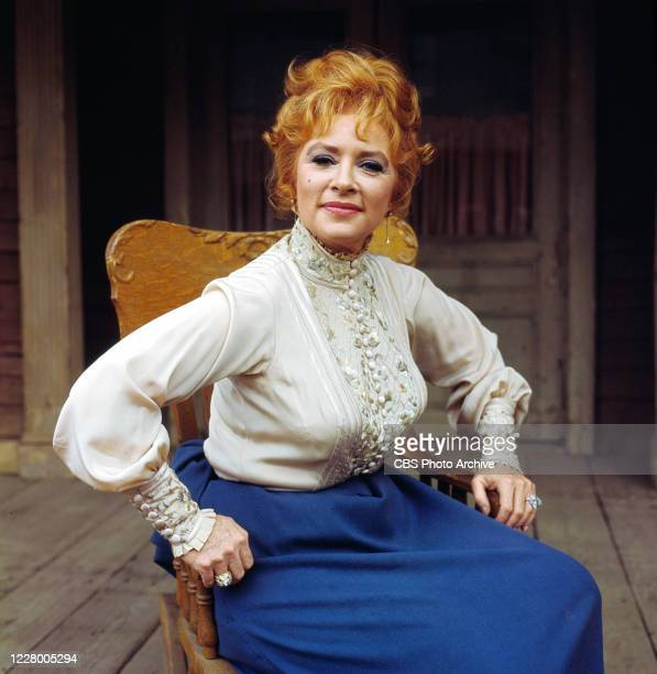 Portrait of America actress Amanda Blake, in costume as Kitty Russell, on the set of the American television series 'Gunsmoke,' 1967.