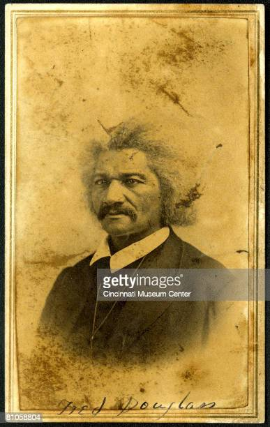 Portrait of American abolitionist author and politician Frederick Douglass Cincinnati Ohio January 12 1867 The picture is labelled 'Fred Douglass'