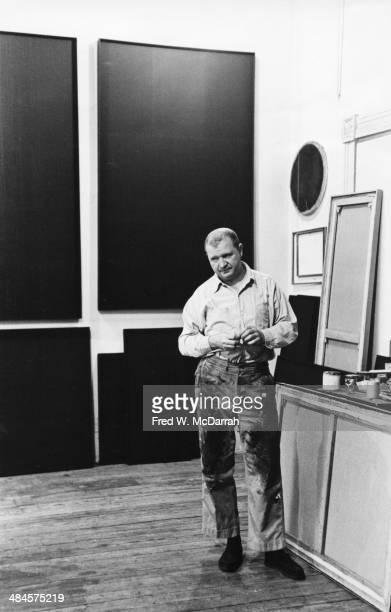 Portrait of American Abstract artist Ad Reinhardt in his studio New York New York April 1 1961