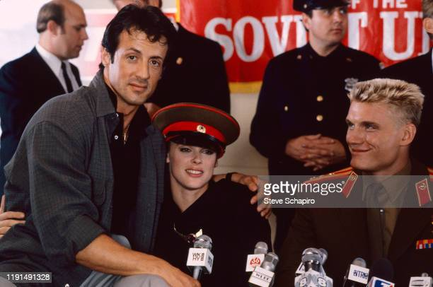Portrait of American actor and director Sylvester Stallone, Danish actress Brigitte Nielsen, and Swedish actor Dolph Lundgren during the filming of...