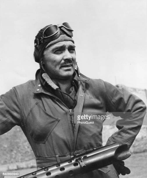 Portrait of American actor and US Army Air Corps gunner Capt Clark Gable of the 351st Bomb Group, England, 1943. Gable flew five missions over...