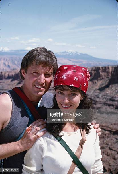 Portrait of American actor Bruce Boxleitner and British actress Rachel Ward during preproduction for the tv movie 'Double Jeopardy' Moab Utah 1991