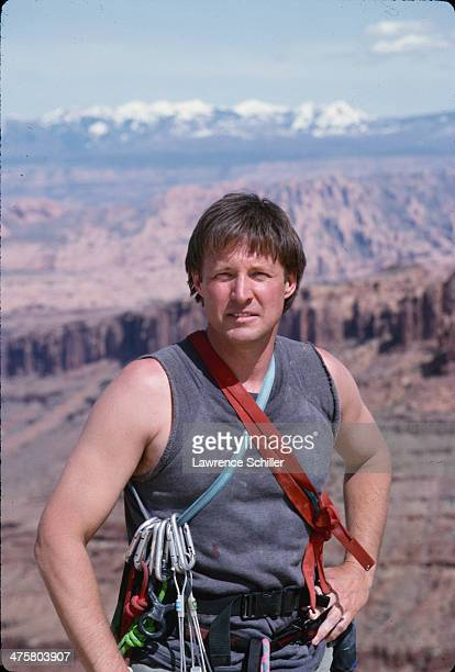 Portrait of American actor Bruce Boxleitner in a tank top and climbing gear during preproduction for the tv movie 'Double Jeopardy' Moab Utah 1991