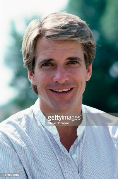 Portrait of American actor Dirk Benedict as he poses outdoors Los Angeles California April 1985