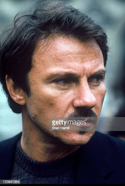 Portrait of American actor Harvey Keitel in Luxembourg Gardens Paris France 1981
