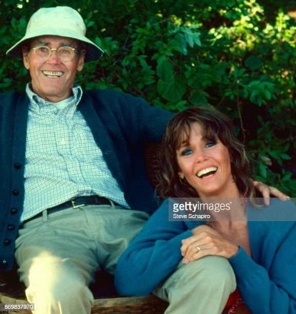 Portrait of American actor Henry Fonda and his daughter actress Jane Fonda as they share a laugh on the set of the film 'On Golden Pond' New...