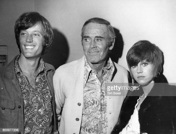 Portrait of American actor Henry Fonda with his children fellow actors Peter Fonda and Jane Fonda in the former's dressing room at the ANTA Playhouse...