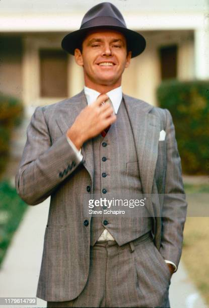 Portrait of American actor Jack Nicholson in costume and on the set of the film 'Chinatown' Los Angeles California 1973