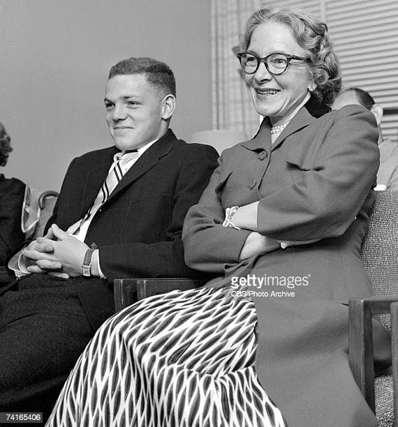 Portrait of American actor James MacArthur and his mother, actress Helen Hayes , as they sit together, January 1, 1955. MacArthur's first screen...