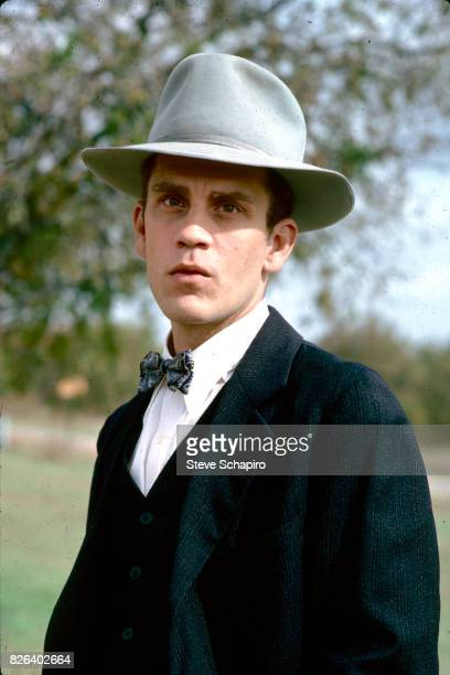 Portrait of American actor John Malkovich in costume and on the set of the film 'Places in the Heart' Texas 1983