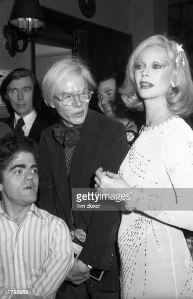 Portrait of American actor Mark Lawhead American Pop artist Andy Warhol and Belgianborn actress Belgianborn actress Monique Van Vooren at the...