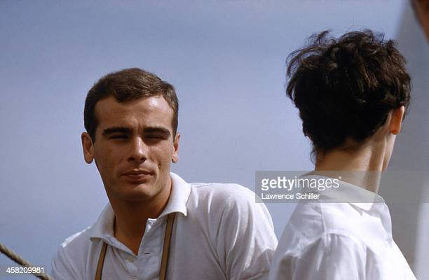 Portrait of American actors Dean Stockwell and Millie Perkins on a boat Newport Beach California 1959