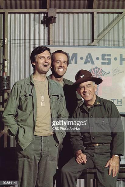 Portrait of American actors, from left, Alan Alda, as Captain Benjamin Hawkeye Pierce, Mike Farrell, as Captain B.J. Hunnicut, and Harry Morgan, as...