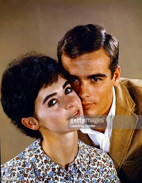Portrait of American actors Millie Perkins and Dean Stockwell as they pose in the studio Los Angeles California 1959