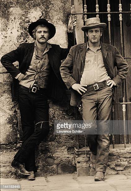 Portrait of American actors Robert Redford and Paul Newman and in costume for their film 'Butch Cassidy and the Sundance Kid' Cuernavaca Mexico 1968