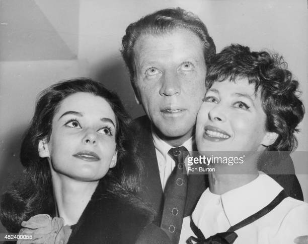 Portrait of American actors Susan Strasberg Dan Dailey and Rita Gam stars of the new ITV television show 'The Time of Your Life' at The Savoy Hotel...