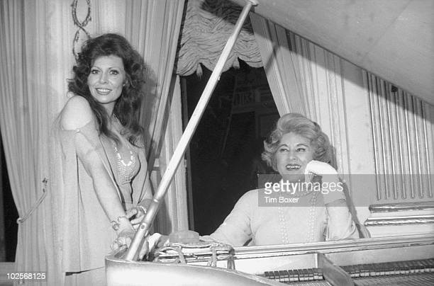 Portrait of American actress Ann Wedgeworth as she poses with caberet singer Hildegarde on the opening night of Hildegarde's review in the Persian...