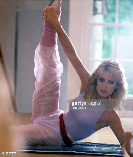 Portrait of American actress Donna Mills as she exercises in her home dance studio Beverly Hills California March 18 1983
