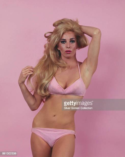 Portrait of American actress Edy Williams in a pink bikini as she poses one hand behind her head against a pink background late 1960s