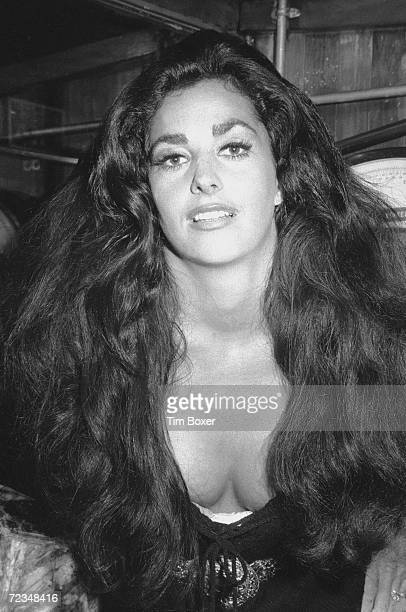 Portrait of American actress Edy Williams leaning forward as she poses in a meat market New York New York mid 1971 She is likely in New York for the...