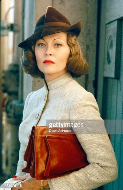 Portrait of American actress Faye Dunaway on set of the film 'Chinatown' Los Angeles California 1973