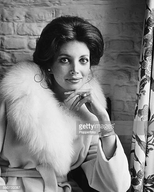 Portrait of American actress Gayle Hunnicutt wearing a furtrimmed coat circa 1970