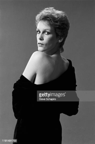 Portrait of American actress Jamie Lee Curtis as she poses with her shoulder bared Los Angeles California 1983