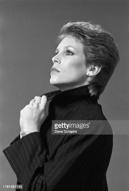 Portrait of American actress Jamie Lee Curtis in a pin striped blazer Los Angeles California 1983