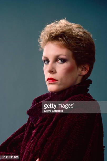 Portrait of American actress Jamie Lee Curtis in a sweater Los Angeles California 1983