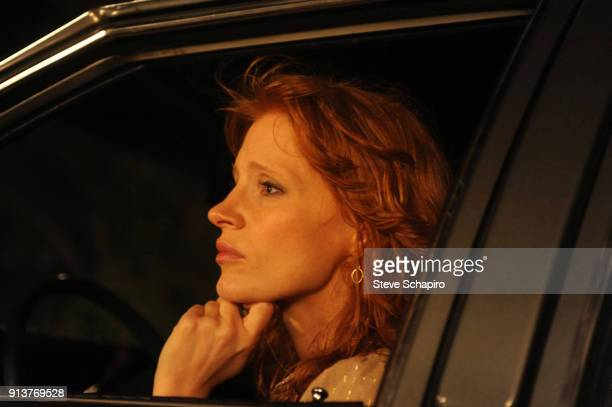 Portrait of American actress Jessica Chastain as she sits in a car on the set of the film 'Texas Killing Fields' New Orleans Louisiana 2011