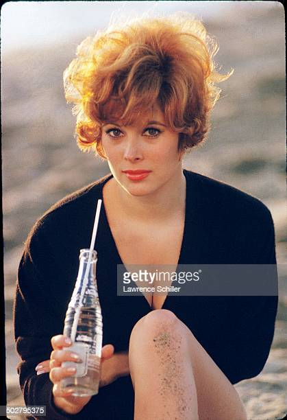 Portrait of American actress Jill St John as she poses on a beach 1964