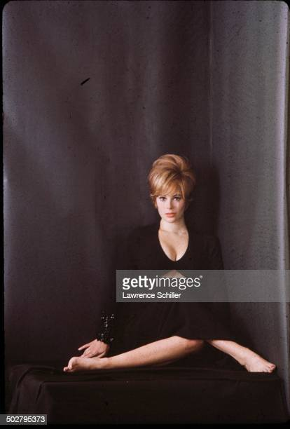 Portrait of American actress Jill St John dressed in a black cleavagerevealing outfit as she poses in a corner against a black background 1964