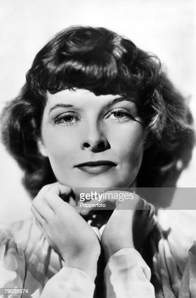 Portrait of American actress Katharine Hepburn whose famous leading roles include those in the films 'Bringing Up Baby' 'Adam's Rib' and 'The African...