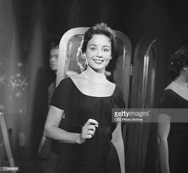 Portrait of American actress Kim Hunter as she stands near a mirror during rehearsals for an epsiode of Playhouse 90 entitled 'Requium for a...