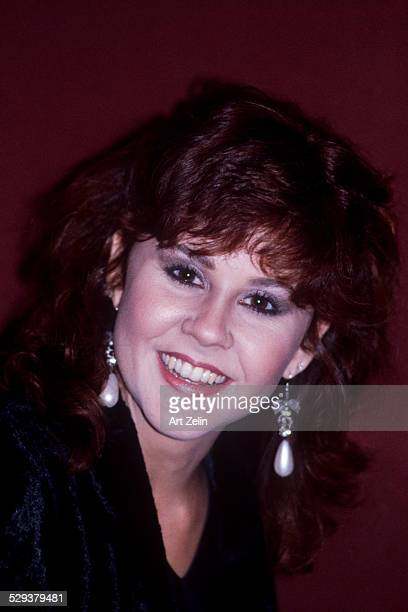 Portrait of American actress Linda Blair wearing pearl earrings New York early to mid 1980s