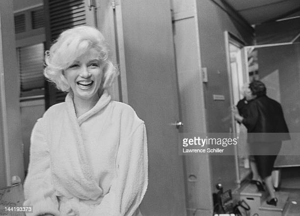 APPLY Portrait of American actress Marilyn Monroe outside her dressing room on the set of 'Something's Got to Give' Los Angeles California May 23 1962
